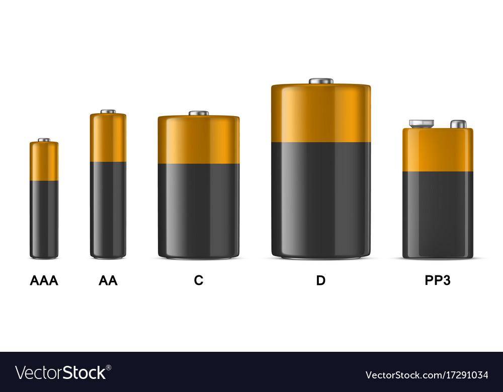 Realistic alkaline batteriy icon set
