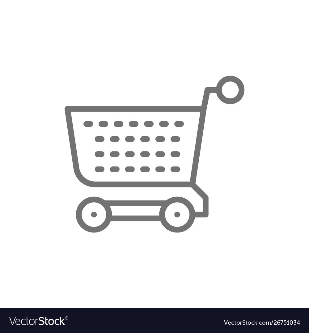 Shopping cart trolley line icon isolated on