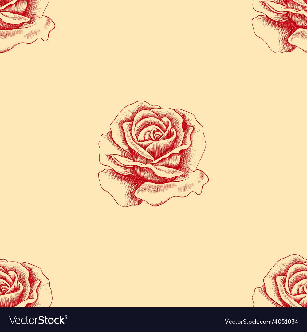 Sketch red rose seamless pattern Hand drawn flower