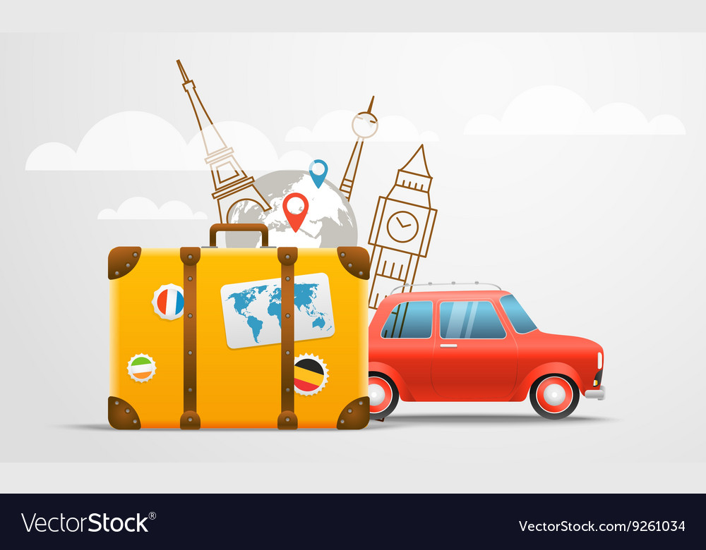 Vacation travelling composition with red retro car vector image