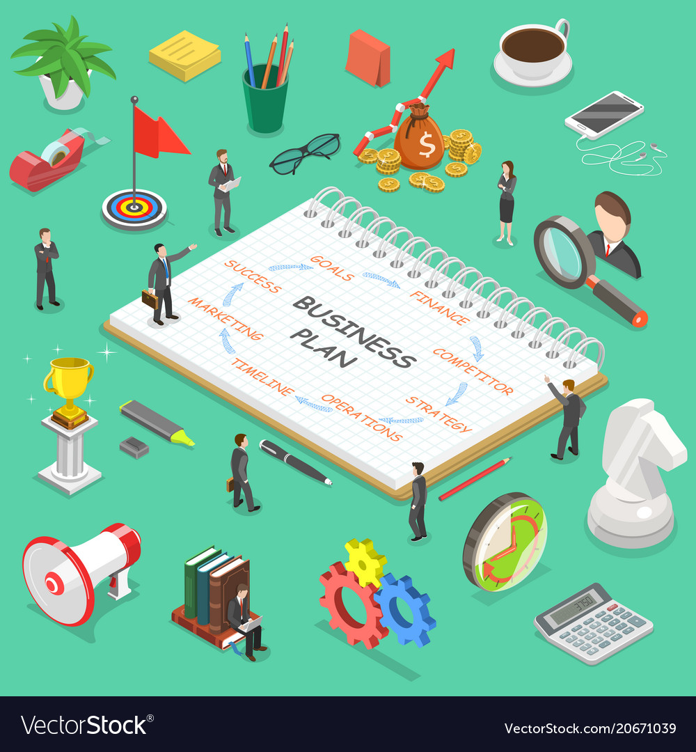 Business plan flat isometric concept