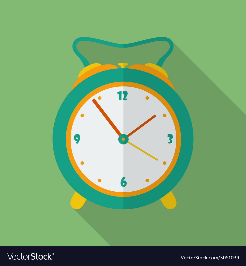Classic alarm clock icon Modern Flat style with a