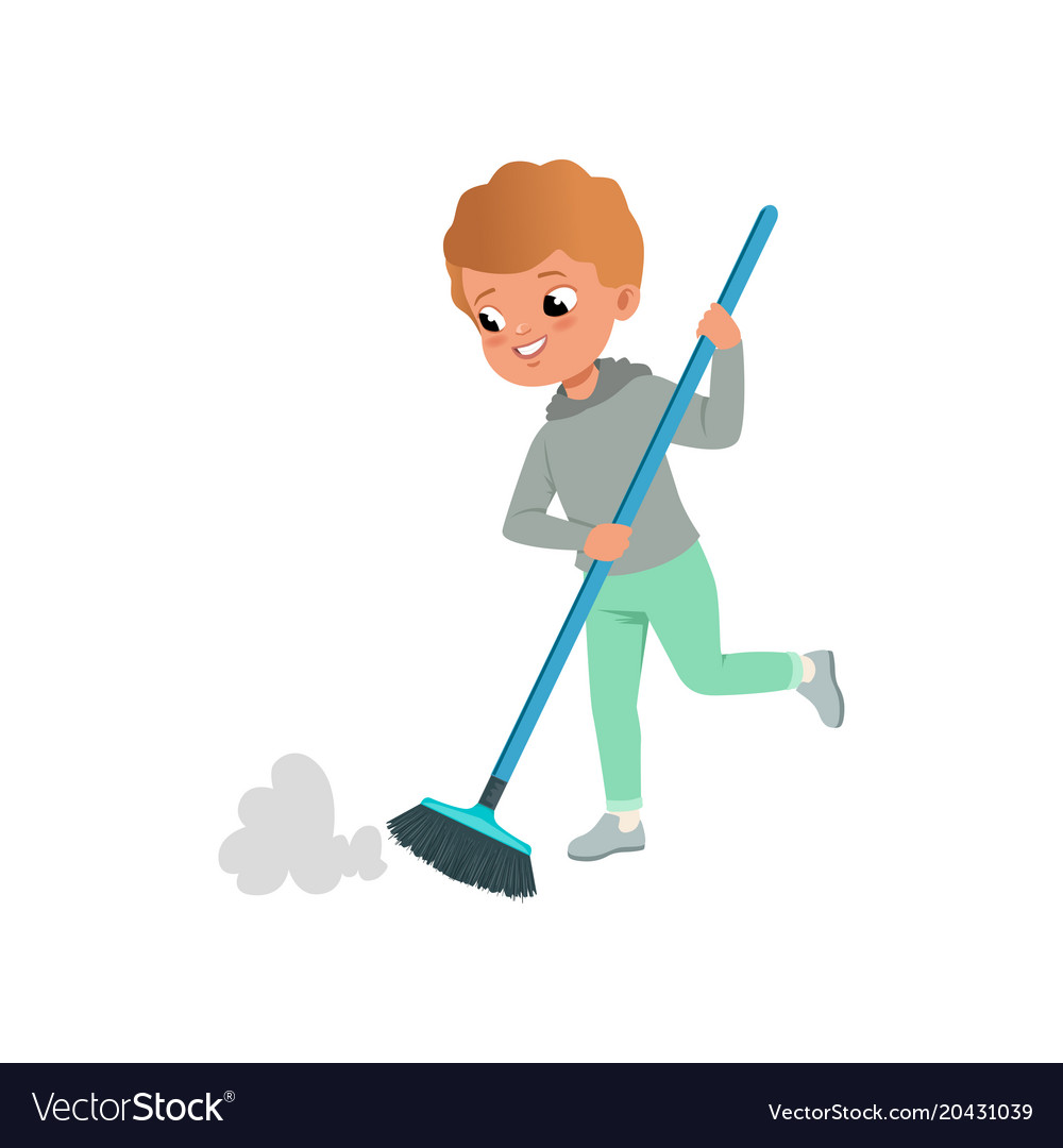 cute little boy sweeping the floor at home home vector image vectorstock