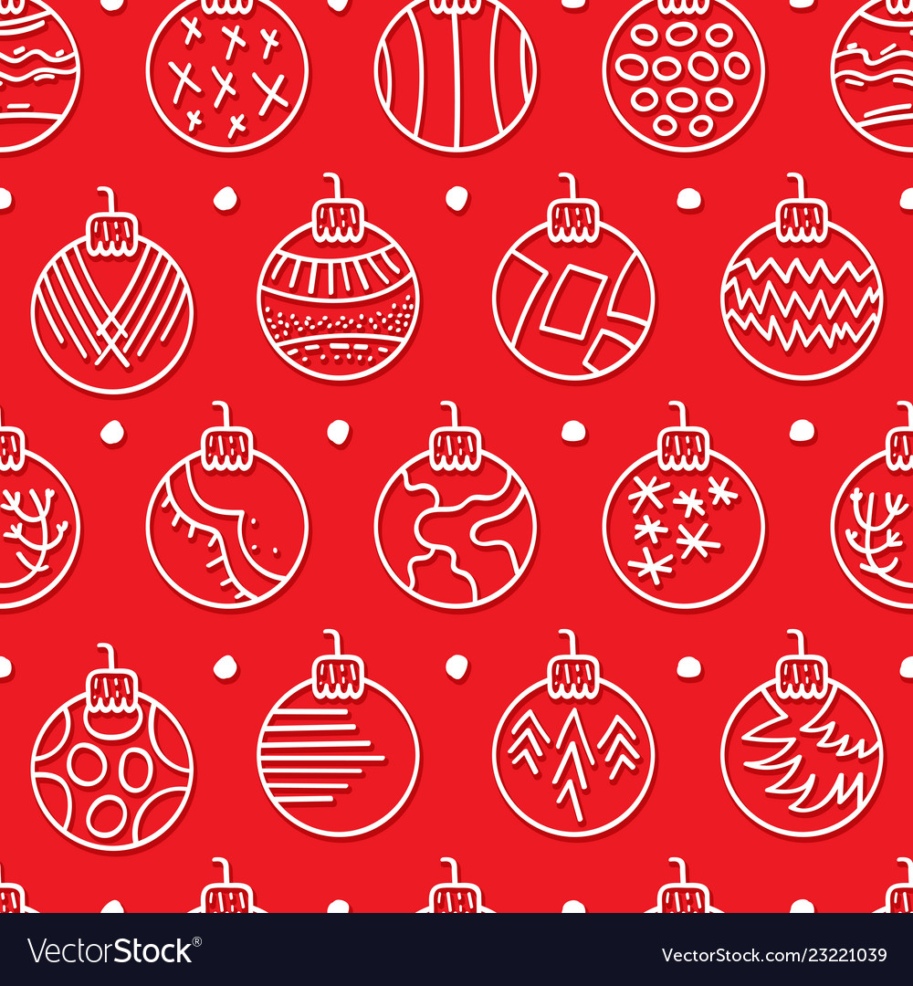 Hand drawn seamless pattern with christmas balls