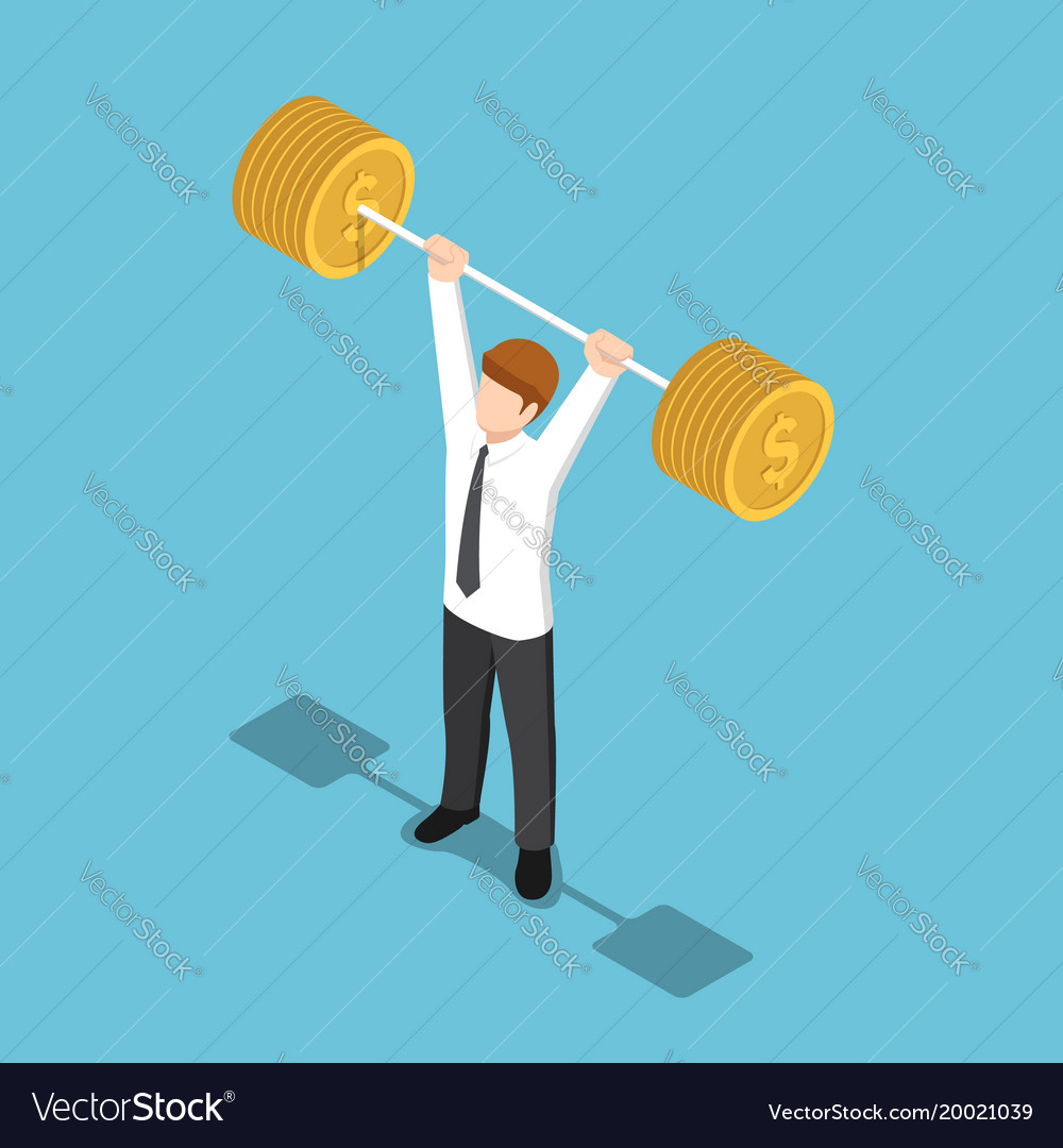 Isometric businessman lifting barbell coins