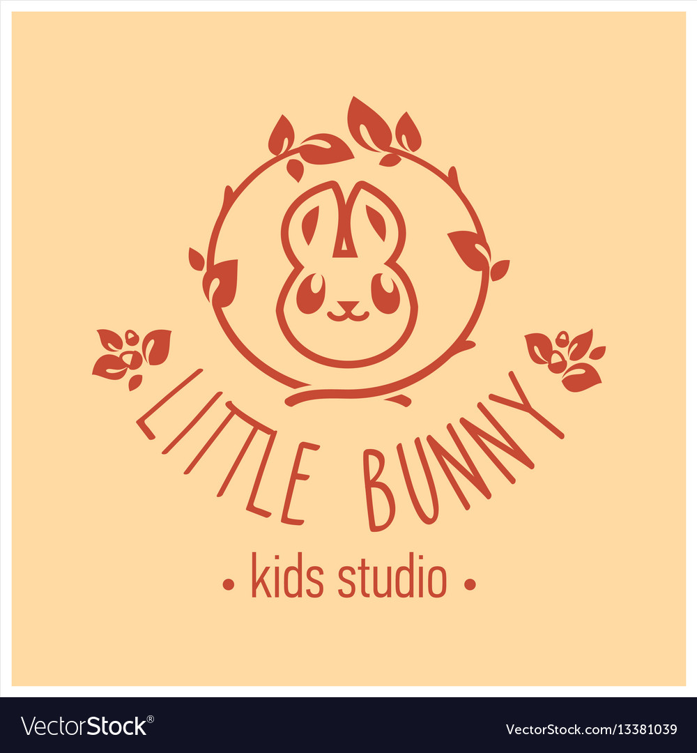 Kids club logo with bunny cute kindergarten sign