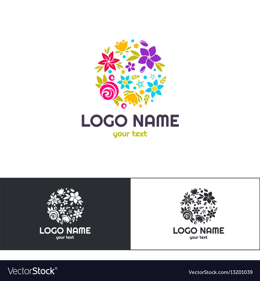Many flowers logo one vector image