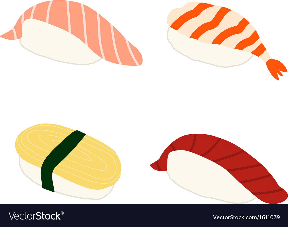 salmon shrimp sweet omlette tuna sushi royalty free vector rh vectorstock com sushi victorville sushi victoria tx