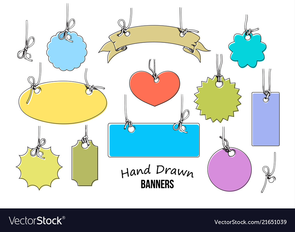 Set of 11 colorful hand drawn labels and banners