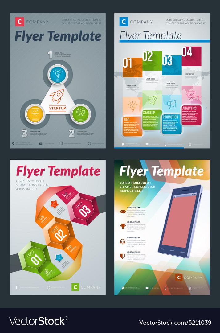 Set of Abstract Business Flyer Brochure Design
