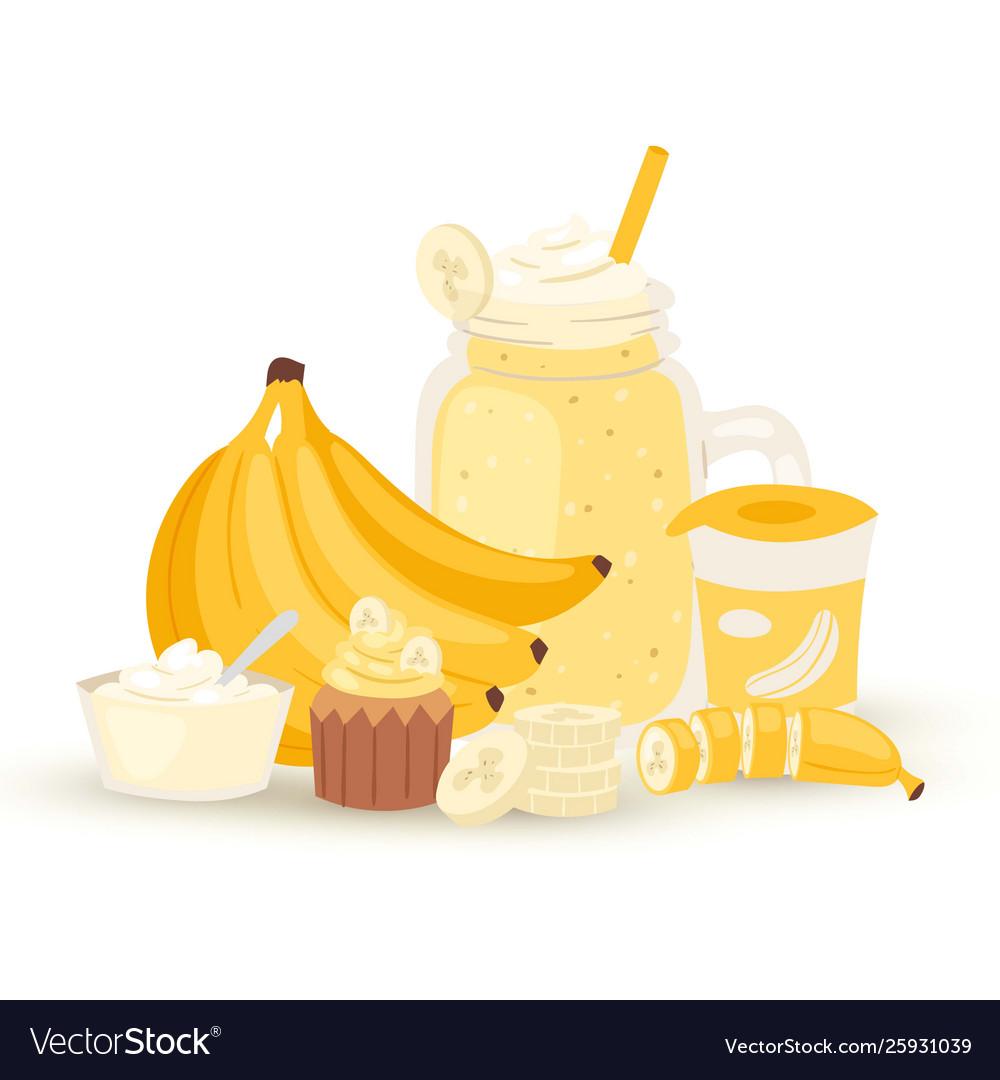 Sweet banana smoothie and milkshake