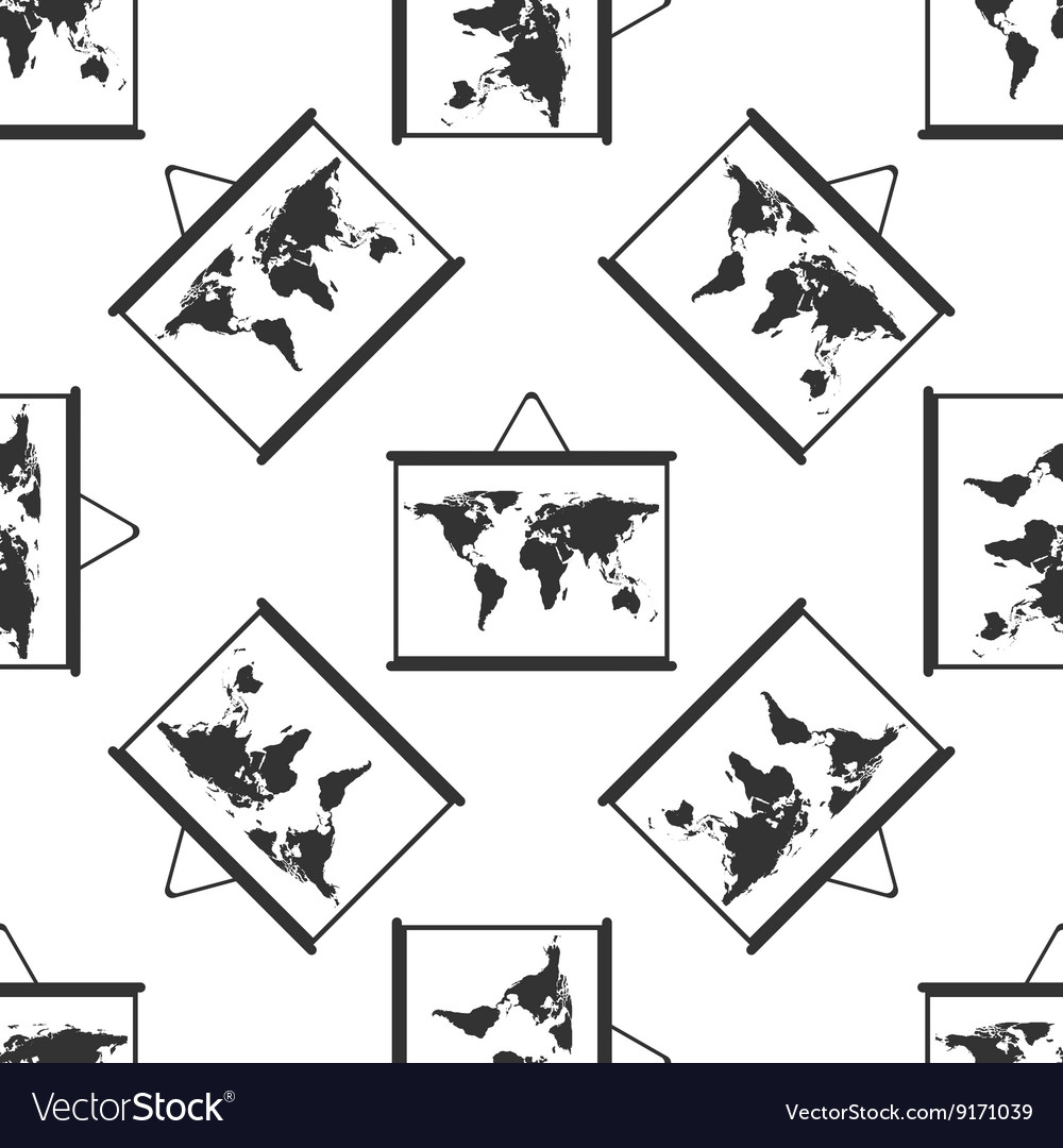 world maps drawing on chalkboard icon pattern vector image