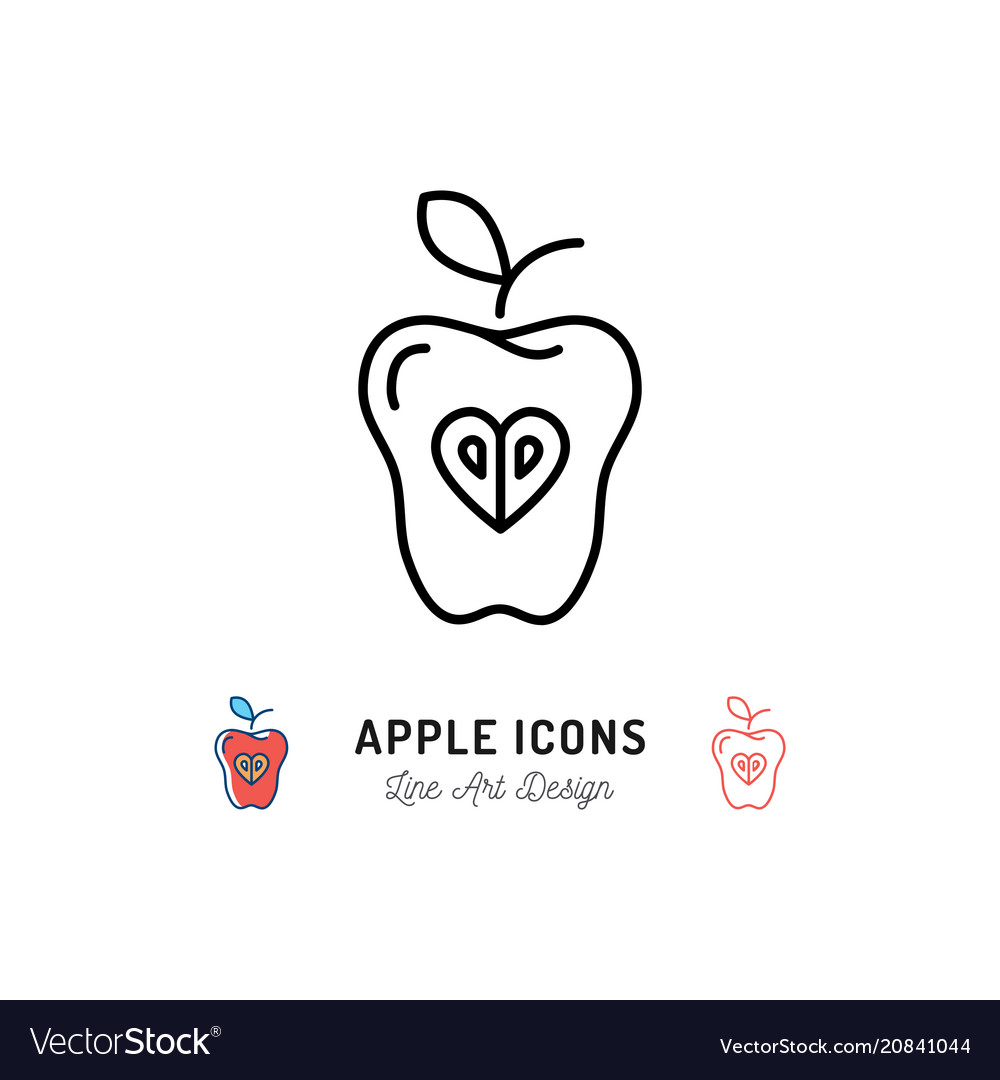 Apple icon fruit concept logo healthy eating and