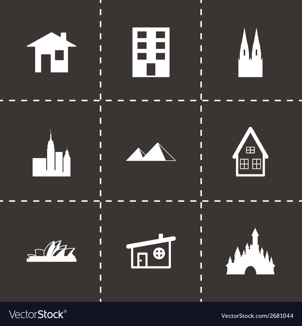 Black buildings icons set