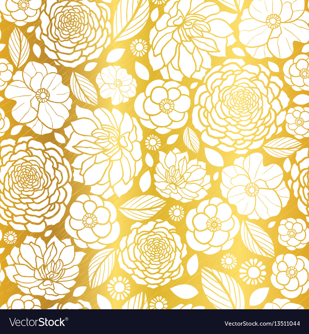 Gold And White Mosaic Flowers Seamless Royalty Free Vector
