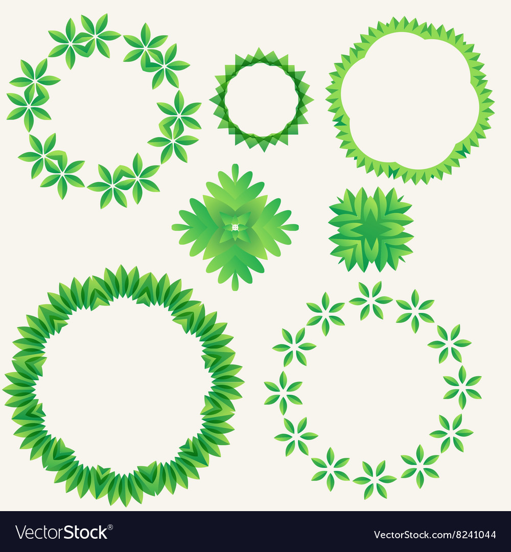Green leaf in circle element