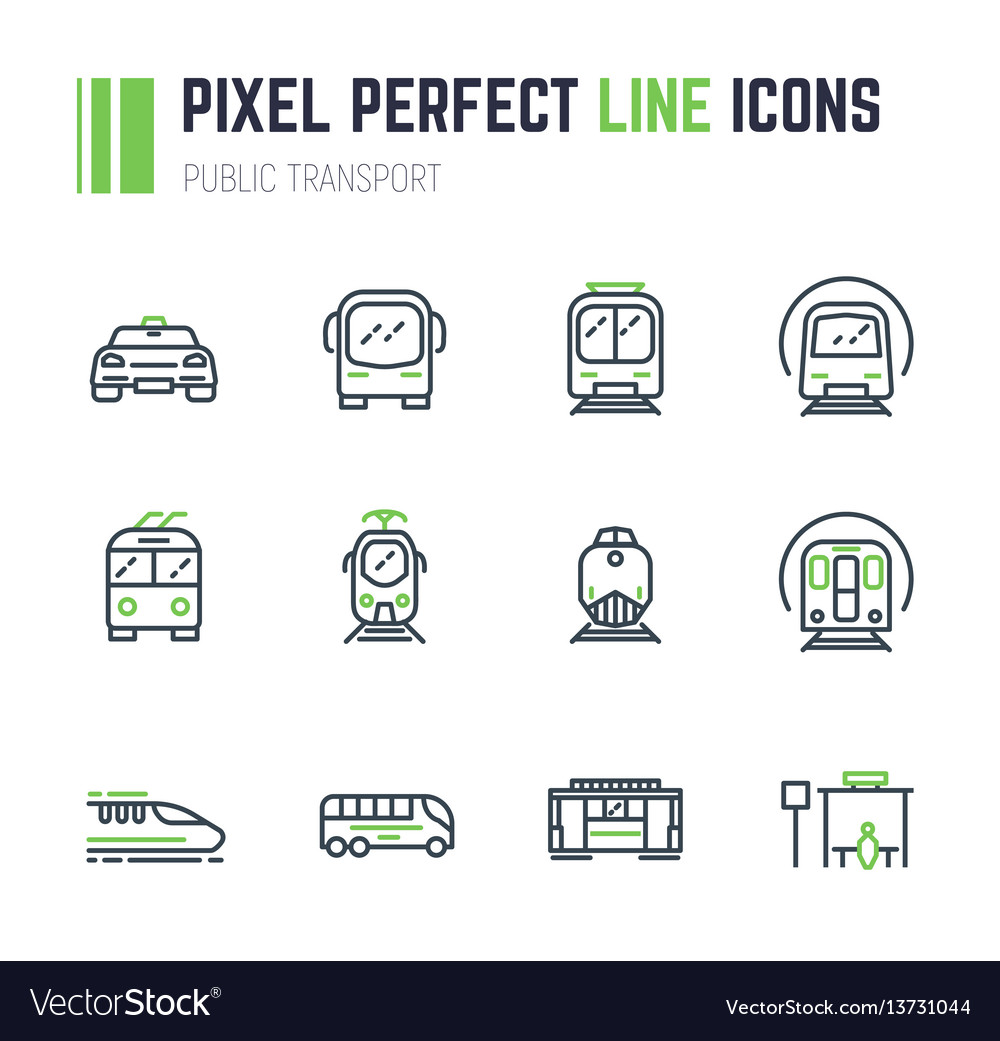 Public transport 12 icon set