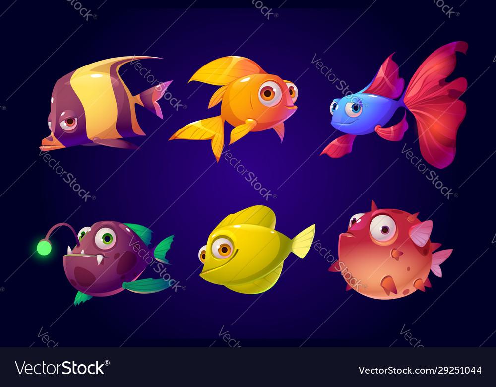 Sea fish tropical colorful aquarium creatures set