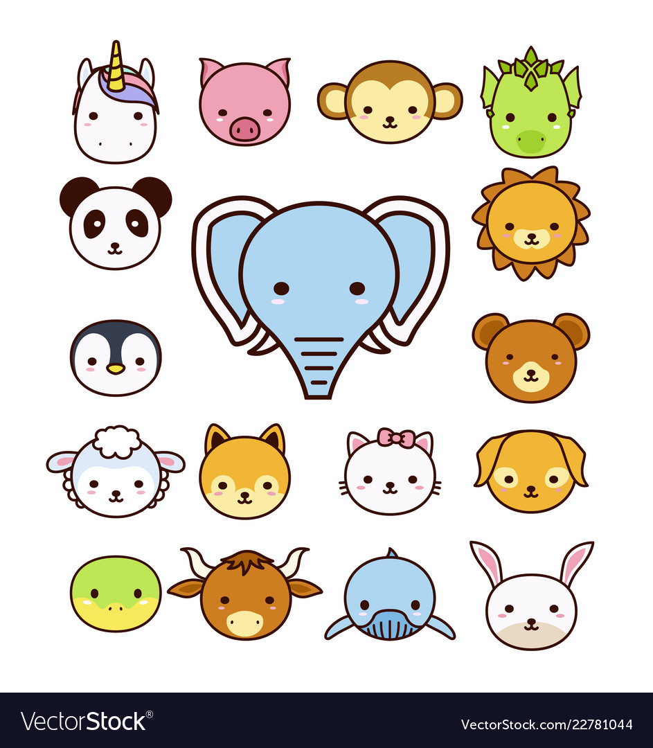 Set cute cartoon animals