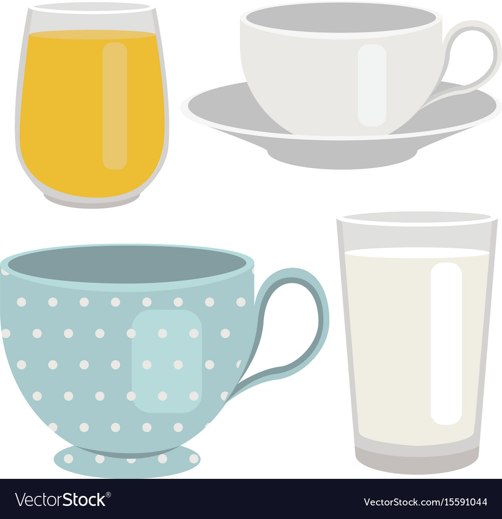Set of breakfast drinks object