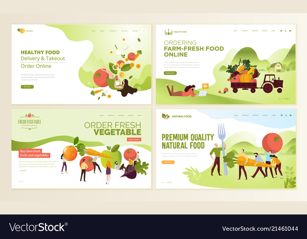 Set of web page design templates for organic food
