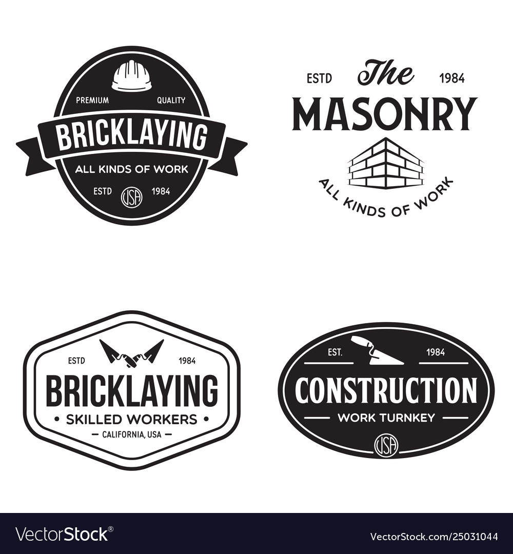 Set vintage construction and bricklaying labels