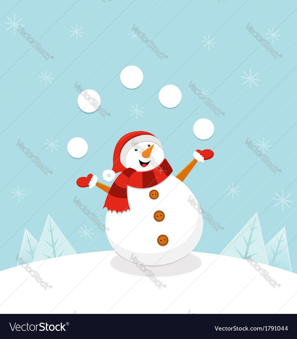 Snowman Juggling Snowballs