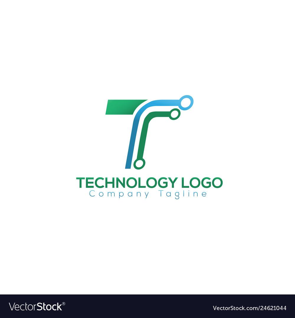 T letter technology logo