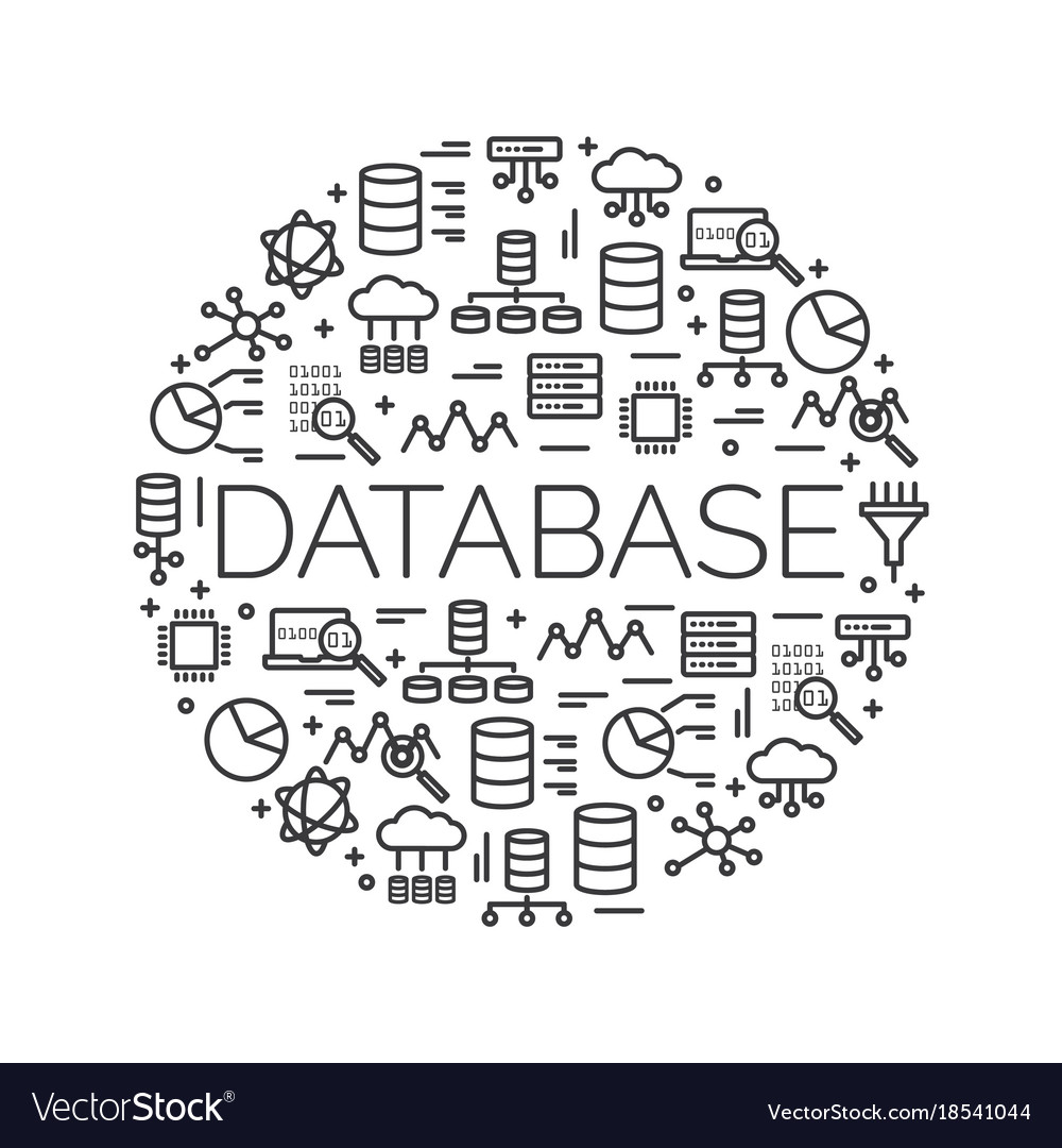 The word database surrounded by icons