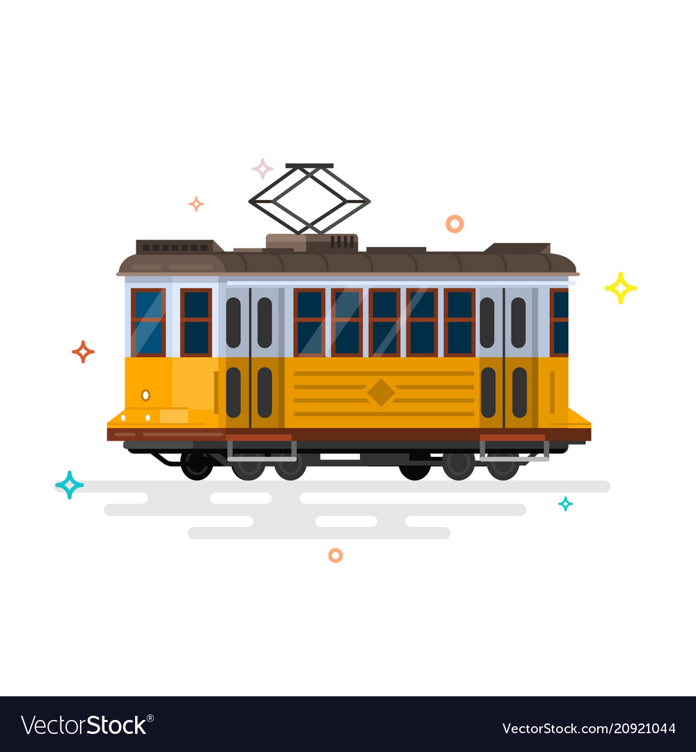 Vintage tram retro tram detailed tram vector