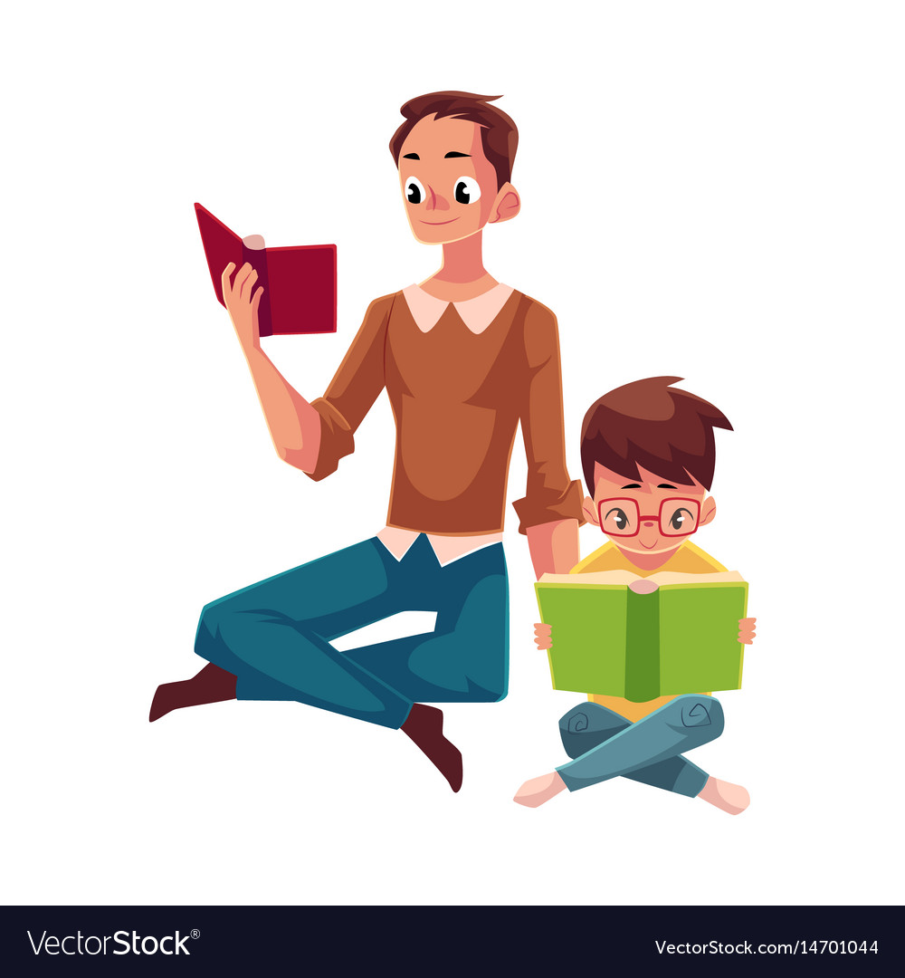 Young man and little boy reading books sitting