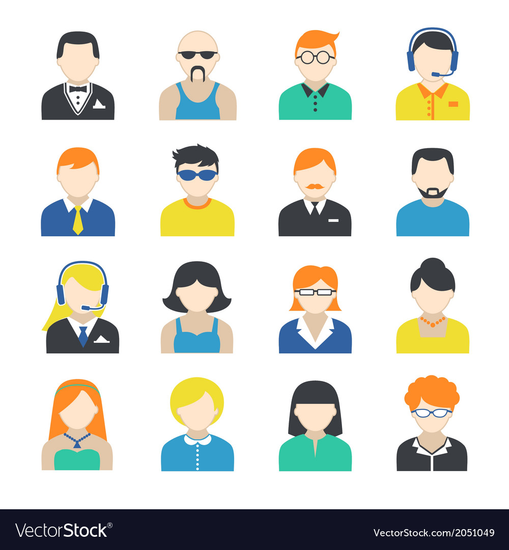 Avatar Character Icons Set vector image