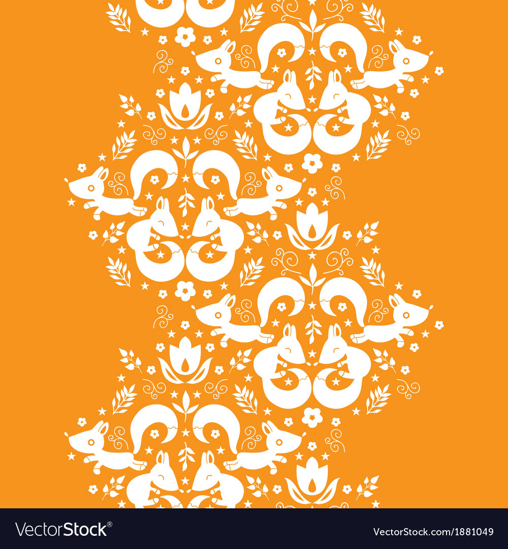 Cute geometrical foxes vertical border seamless vector image