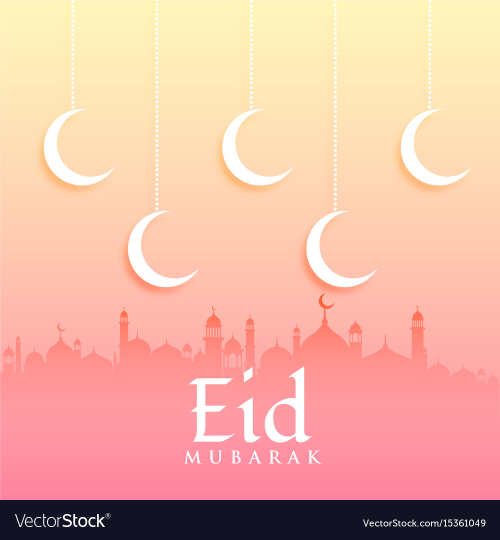 Eid mubarak greeting card design with moon and vector image m4hsunfo