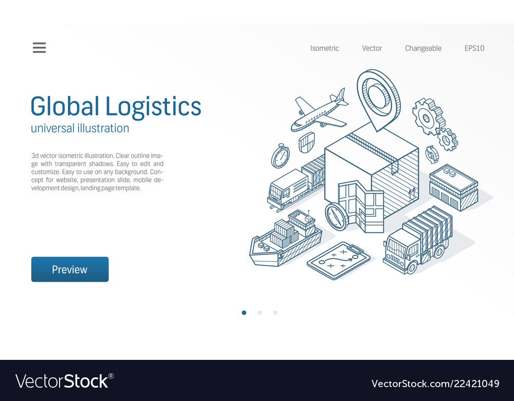 Global logistic service modern isometric line