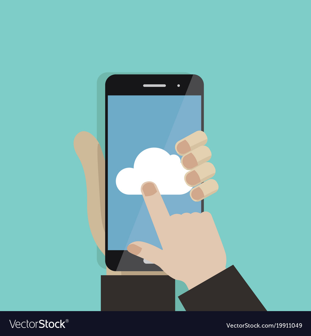 hand holding smartphone finger touching screen vector image