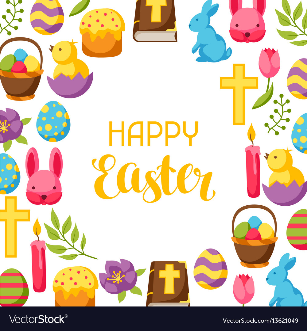 Happy easter frame with decorative objects eggs
