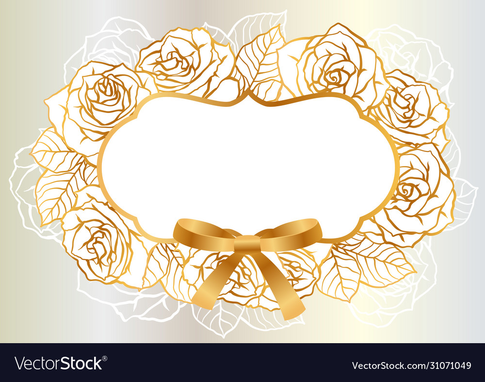 Invitation card with outline roses beautiful