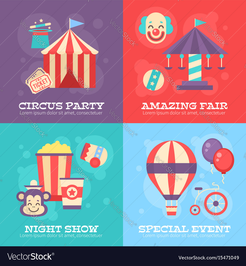 Retro circus banners with festival elements