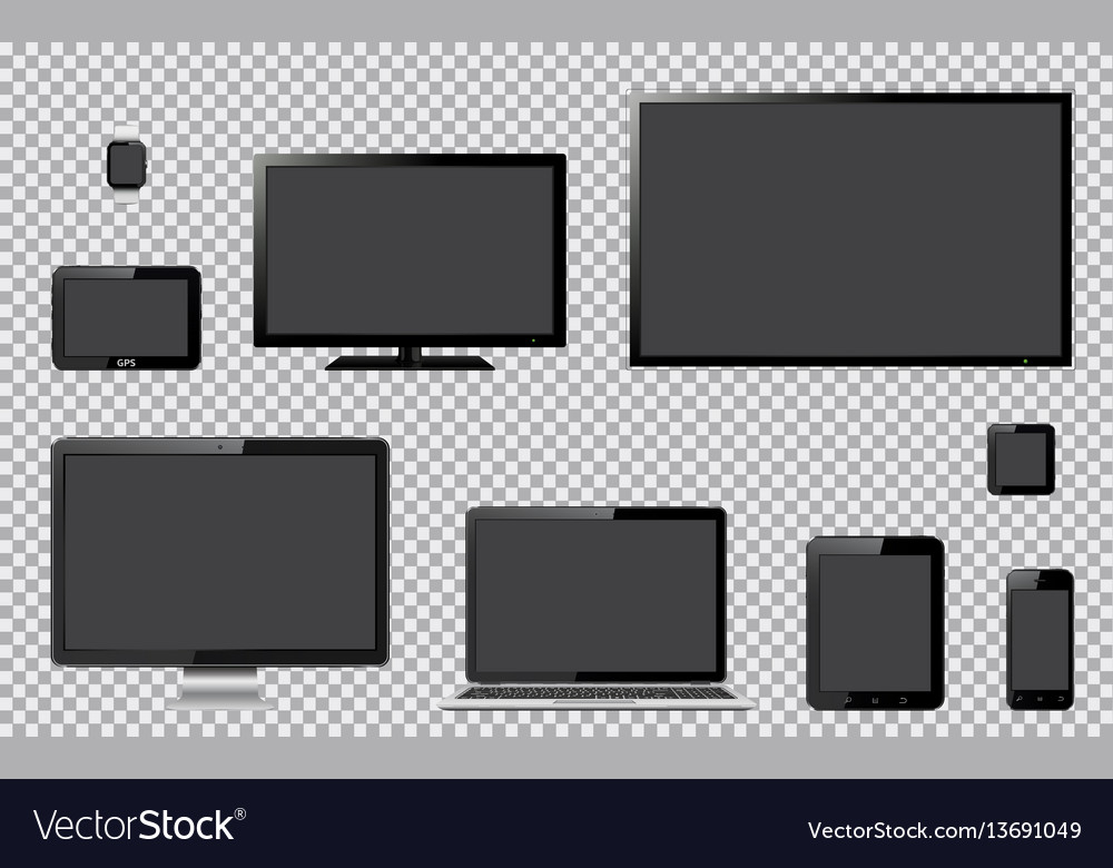 Set of realistic tv computer monitor laptop