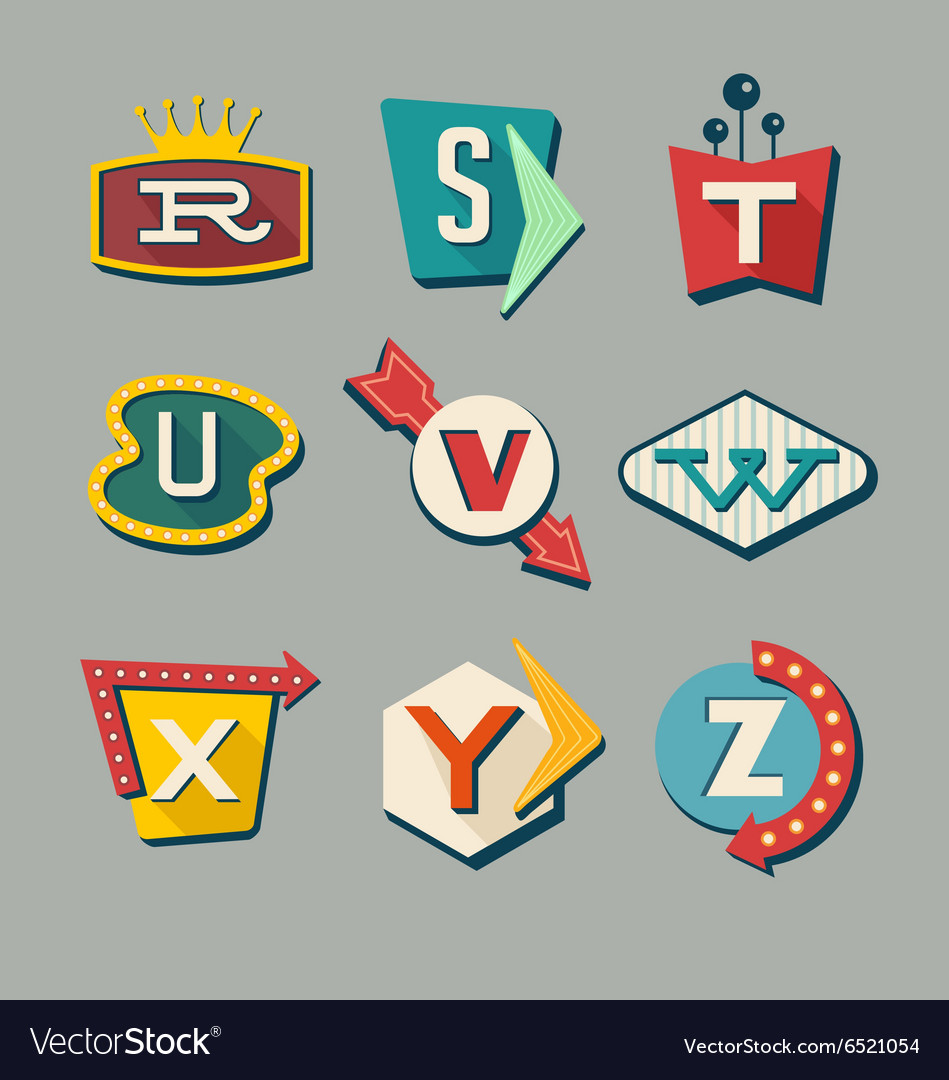 Alphabet letters on retro signs