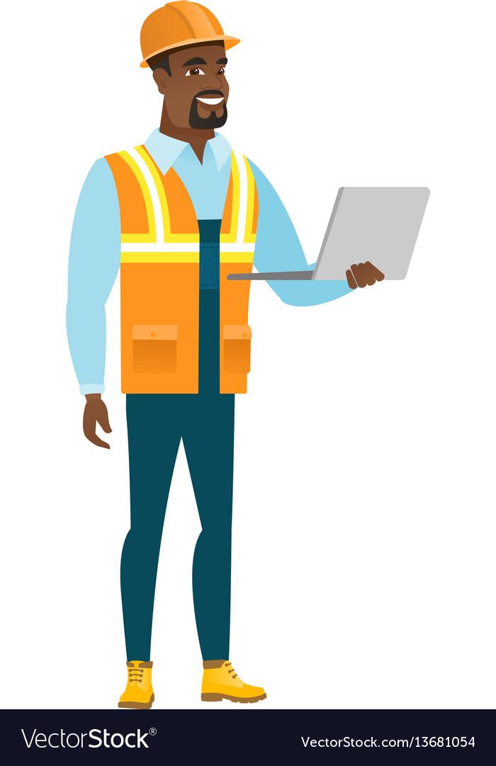 Builder using laptop vector image