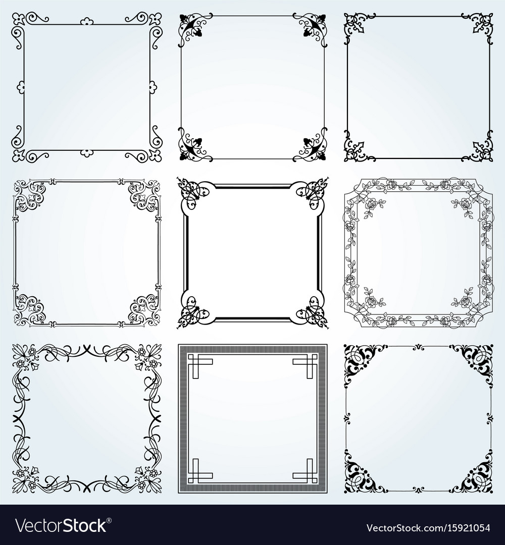 Decorative frames and borders square set 3 vector image
