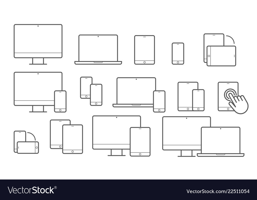 Devices line icons for responsive design