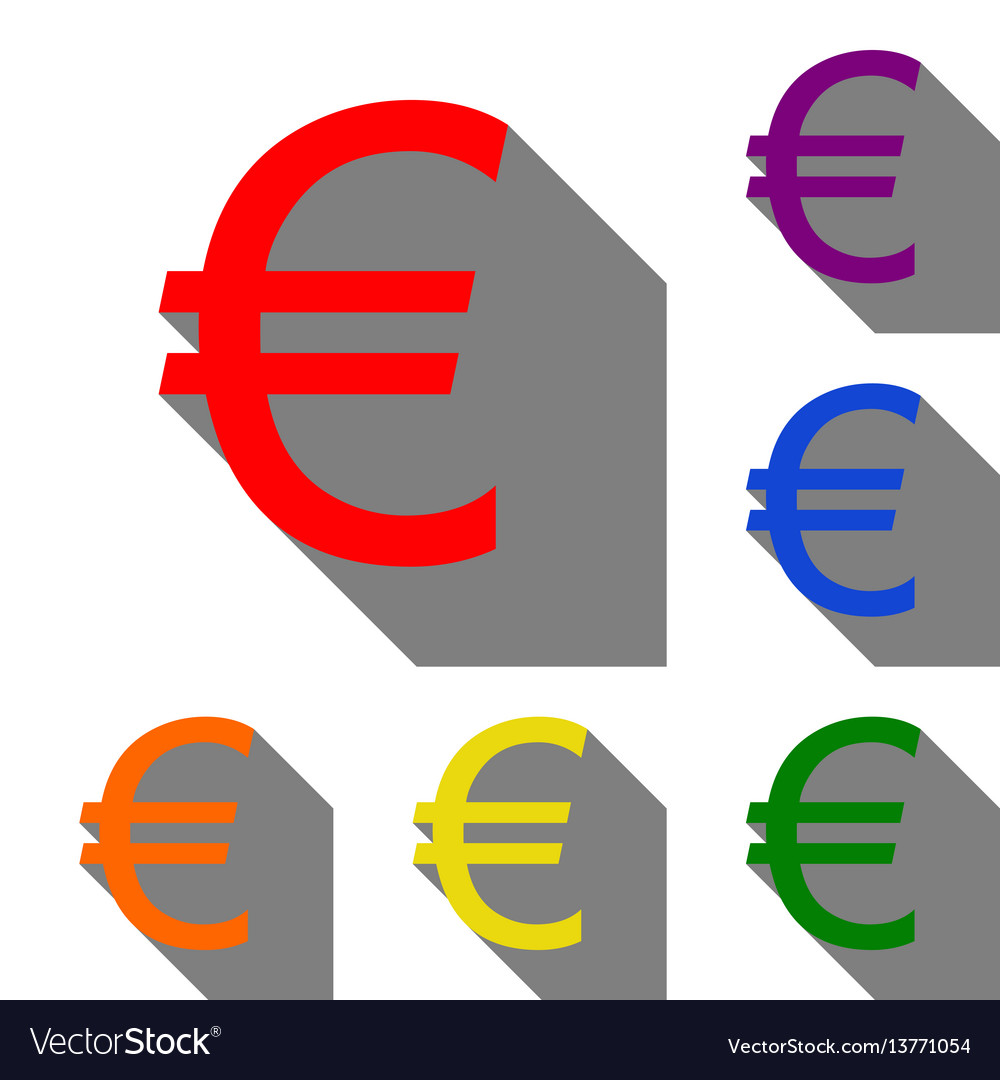 Euro sign set of red orange yellow green blue