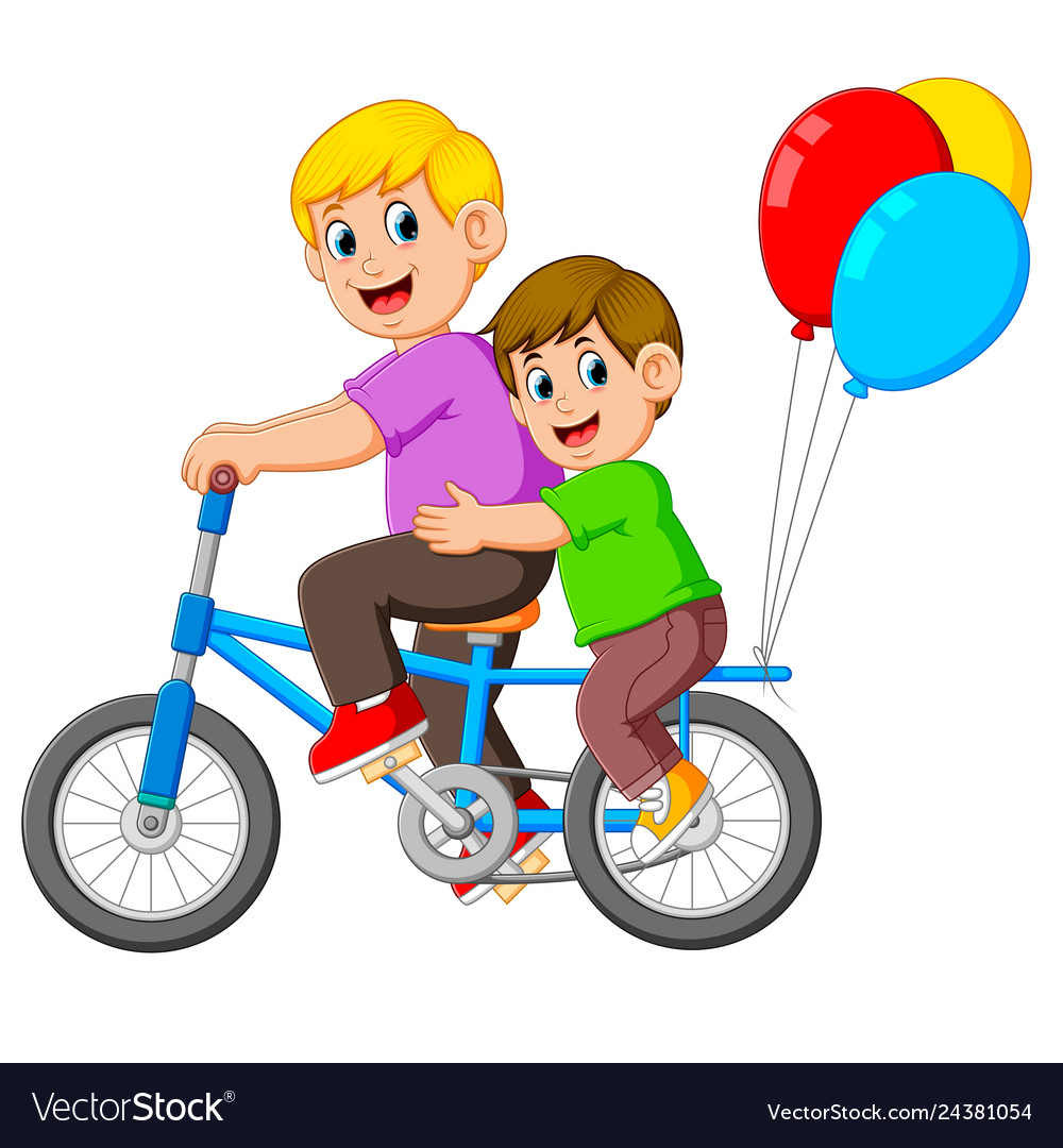 Father with happy kid riding a bike