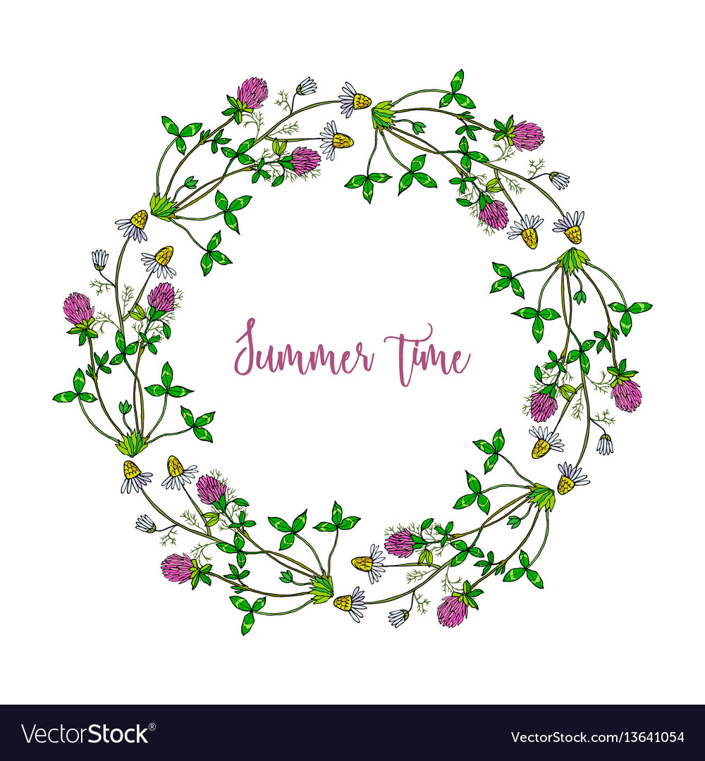 Hand drawn summer wreath vector image