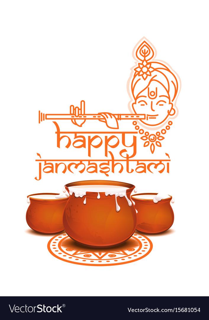 Happy krishna janmashtami concept design