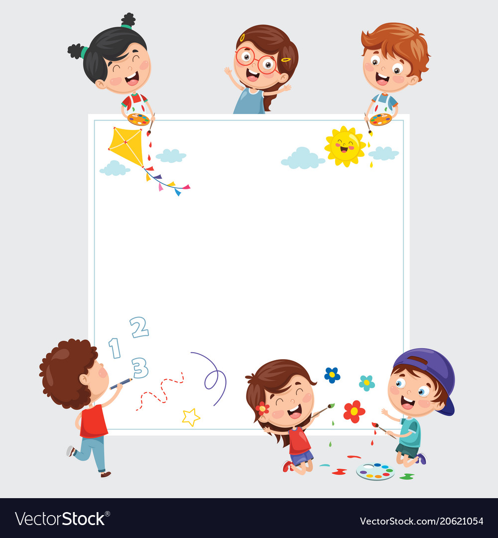 Kids painting on white banner