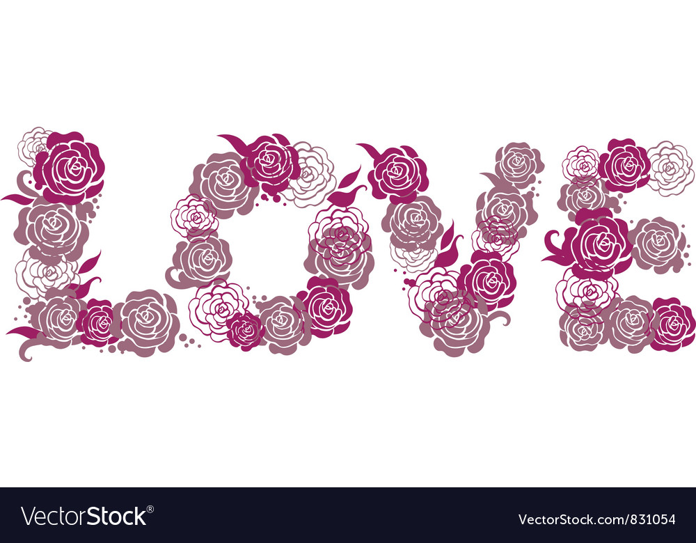 Letters Love with roses
